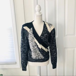 Vintage Black Abstract Cezanne Crossover Sweater M